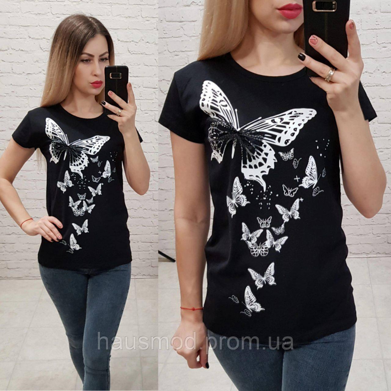 Женская футболка 100% катон бабочки Турция черная