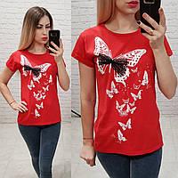 Женская футболка 100% катон бабочки Турция красная, фото 1