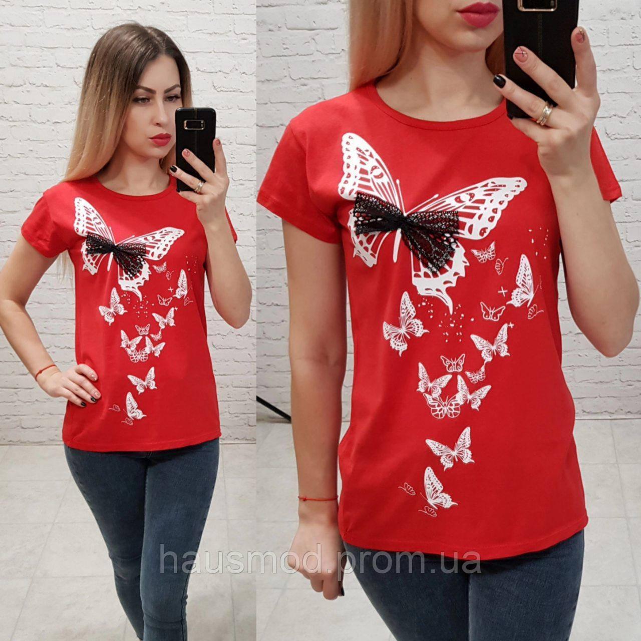 Женская футболка 100% катон бабочки Турция красная