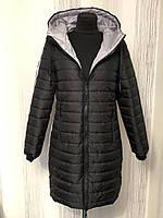 Удлинённая женская куртка стеганная на молнии