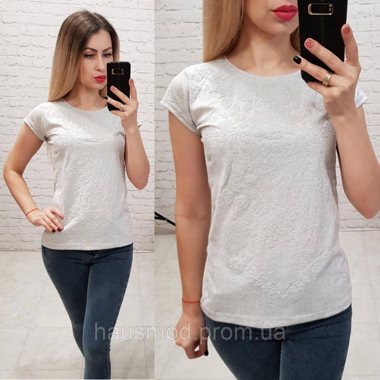 Женская футболка 100% катон узор выпуклый красивый Турция серая