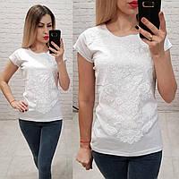 Женская футболка 100% катон узор выпуклый красивый Турция белая, фото 1