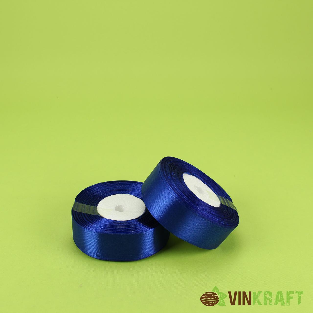 Стрічка атласна 2,5 см (23 м) синя ( електрик)