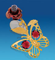 """Позолоченная фигурка на липучке """"Бабочка на бордовой розе"""" с кристаллами Сваровски"""