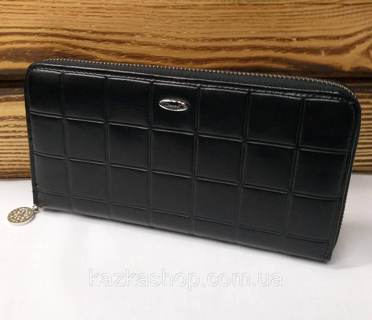 Женский кошелек из искусственной кожи, на молнии, 5 отделов для купюр, для 12 карт, черного цвета