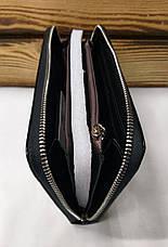 Женский кошелек из искусственной кожи, на молнии, 5 отделов для купюр, для 12 карт, черного цвета, фото 3