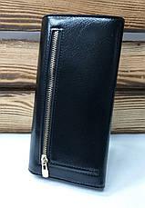 Женский кошелек из искусственной кожи, магнитный замок, 4 отдела для купюр, для 7 карт, черного цвета, фото 3