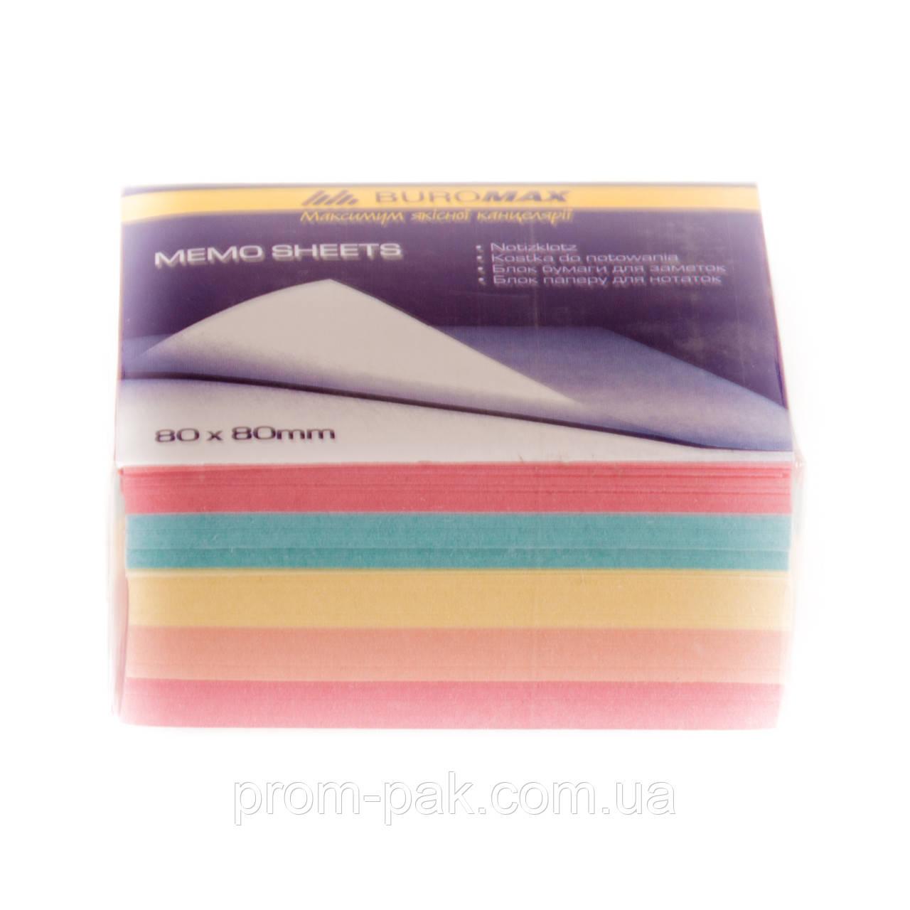 Листочки з кольорового паперу для записів Декор 80х80х300 ВМ 2272 склеєний