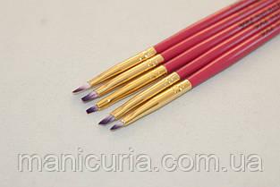 Набор кистей YRE B-12, 5 шт., розовая ручка