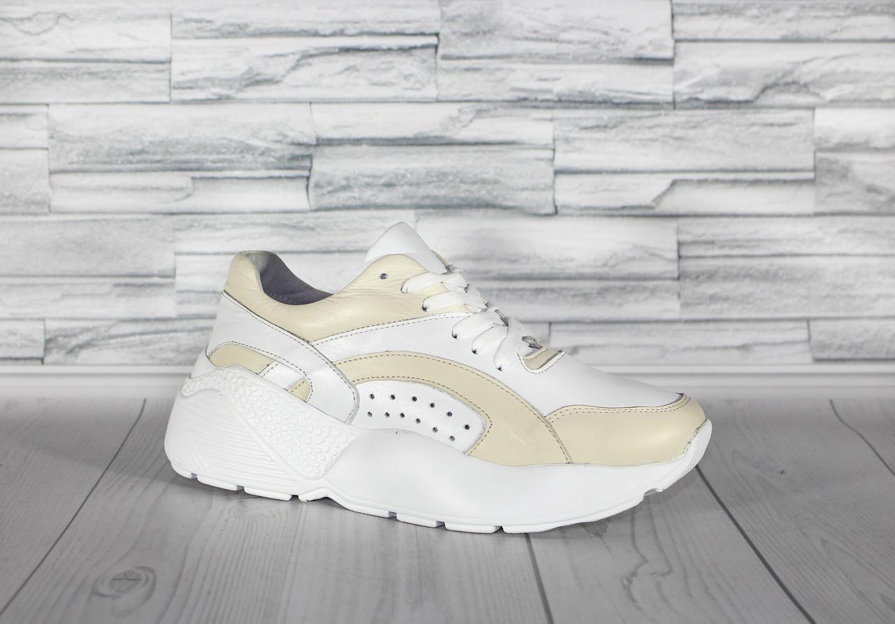 Белые кроссовки на высокой подошве. Натуральная турецкая кожа.0077