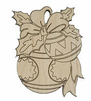 Деревянные новогодние украшения Shasheltoys Шар 9 см (010204)