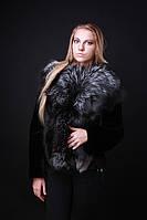 Шуба жилет из финской чернобурки и мутона рукава съемные silver fox and mouton convertible fur coat vest, фото 1