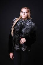 Шуба жилет з фінської чорнобурки та мутона знімні рукави silver fox and mouton convertible fur coat vest