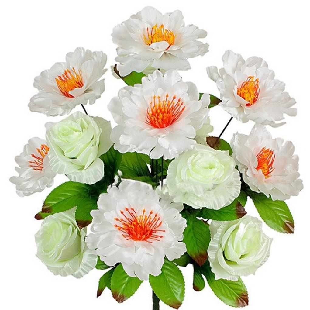 Букет пионов и роз , 51см (12 шт. в уп)
