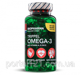 Омега 3 Trippel Omega-3 Biopharma 144 капсулы Норвегия