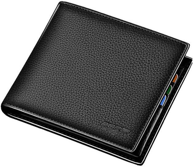 Мужской кошелек (портмоне) из натуральной кожи Bopai 715-006492, черный