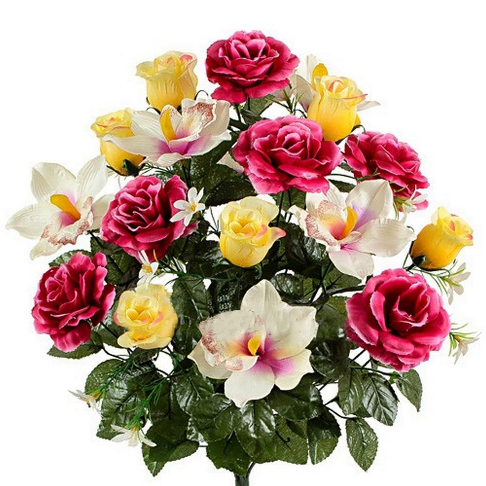 Букет орхидей и бутоны роз, 58см (5шт. в уп)