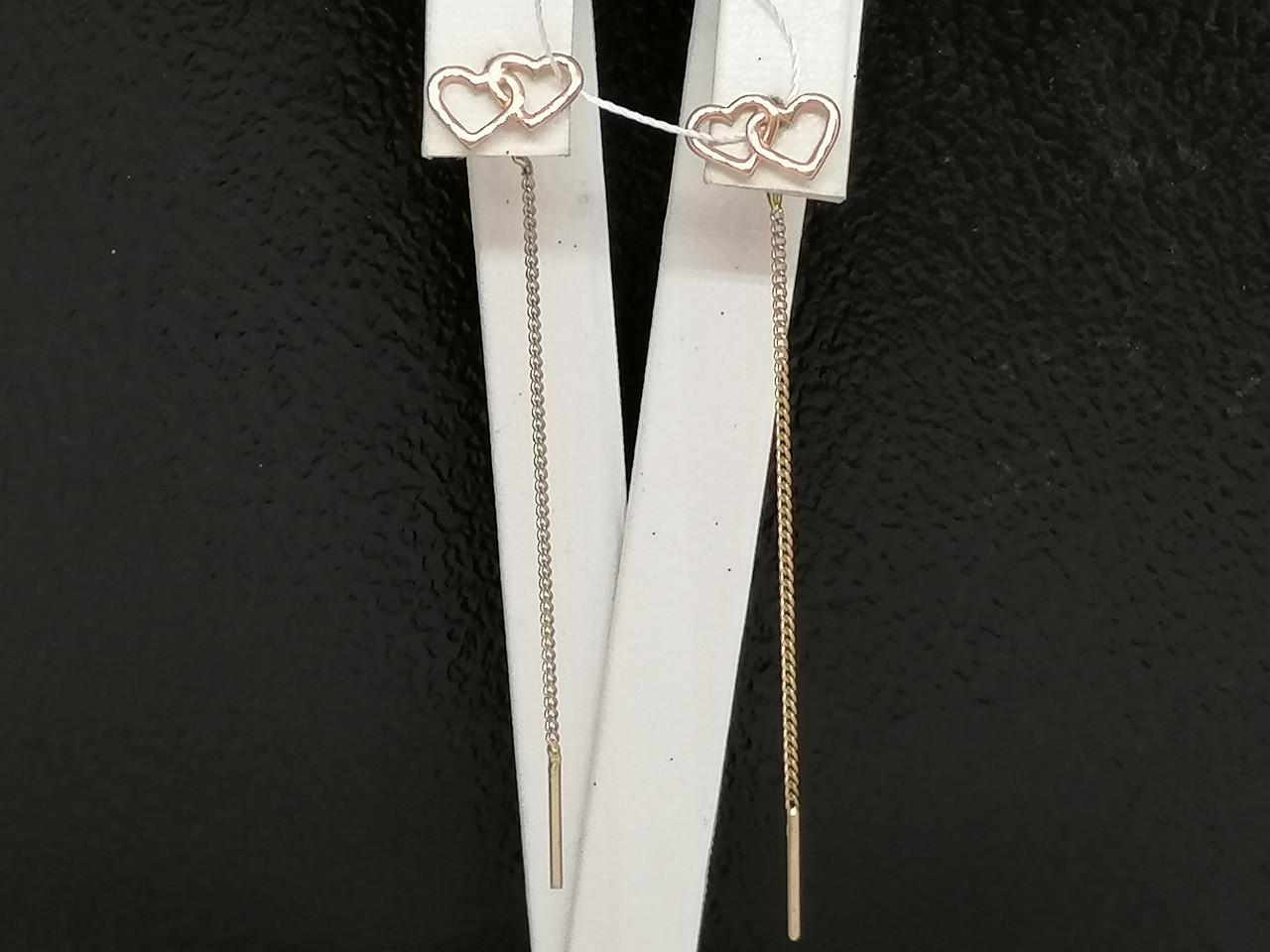 Золотые серьги-протяжки. Артикул СПП354И