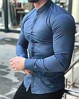 Рубашка мужская стойка с длинным рукавом синяя SlimFit