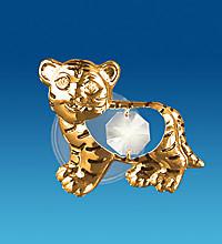 """Позолочена фігурка на магніті """"Тигр"""" з кристалами Сваровські"""