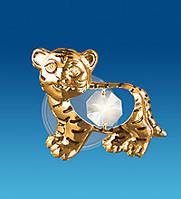"""Позолочена фігурка на магніті """"Тигр"""" з кристалами Сваровські, фото 1"""