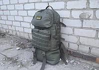 Тактический туристический крепкий рюкзак трансформер 40-60 литров олива. Нейлон 600 Den.