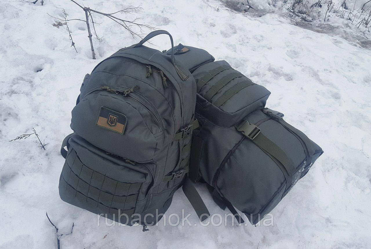 Тактический туристический крепкий рюкзак трансформер 40-60 литров афган. Нейлон 600 Den.