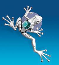 """Фігурка на магніті """"Жаба тропічна"""" з кристалами Сваровські"""