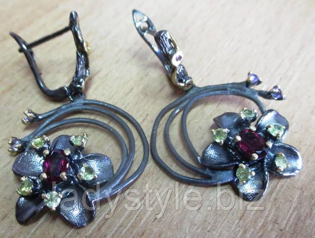 украшения ювелирные наборы серебро купить серьги пусеты гранат натуральный подарок