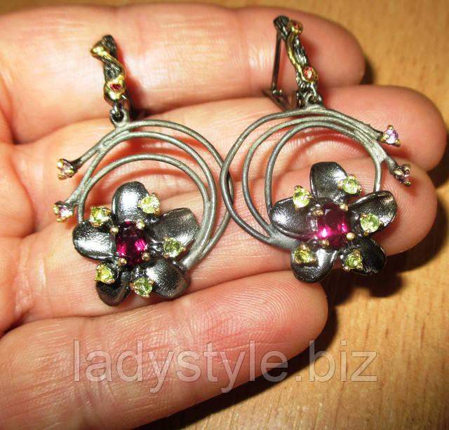 украшения серьги серебряные набор кулон кольцо купить леди стиль подарок