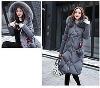 Стёганый  женский зимний пуховик пальто капюшон с мехом