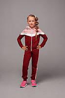 Спортивний костюм підлітковий для дівчинки, 7-11 років, бордовий з рожевим, фото 1