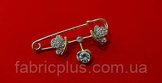 Булавка декоративная  5 см сердечко/стразы золото