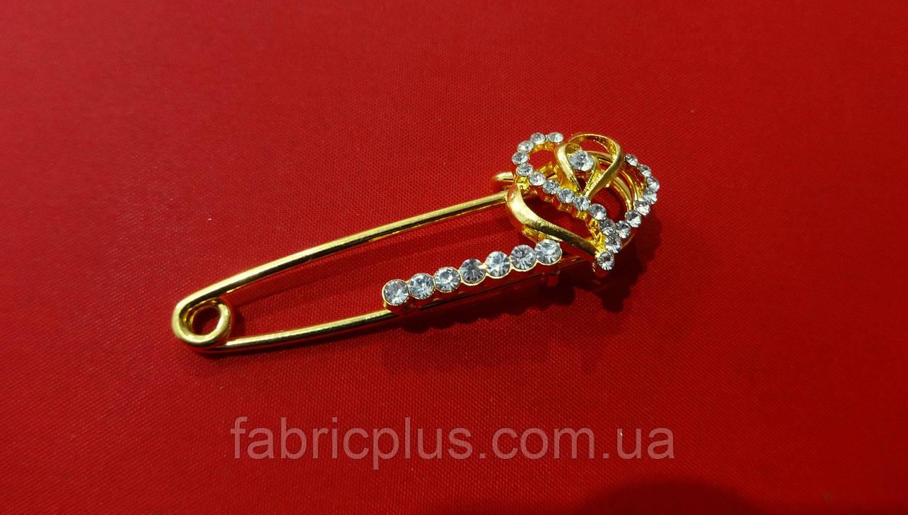 Булавка декоративная  5 см сердечки/стразы золото