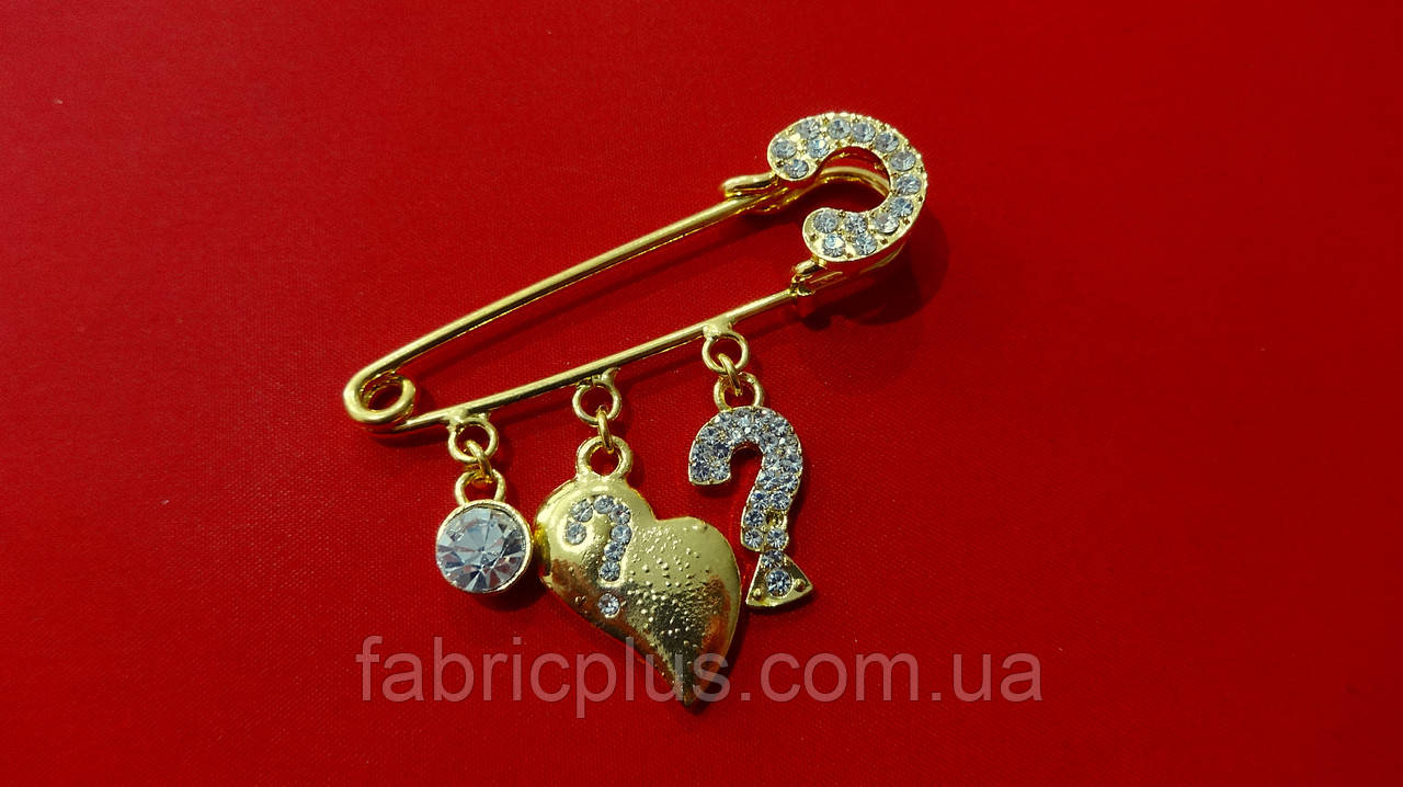 Декоративна шпилька 5 см з підвісками/стрази золото