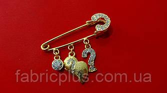 Булавка декоративная  5 см с подвесками/стразы золото
