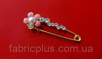 Булавка декоративная  5 см розовый цветочек/стразы золото