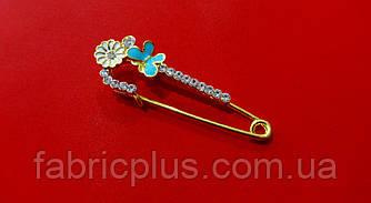 Булавка декоративная  5 см голубая бабочка/стразы золото