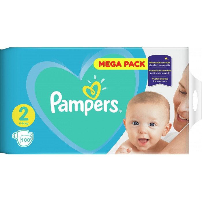 Подгузники Pampers Active Baby-Dry 2 (4-8 кг), 100шт