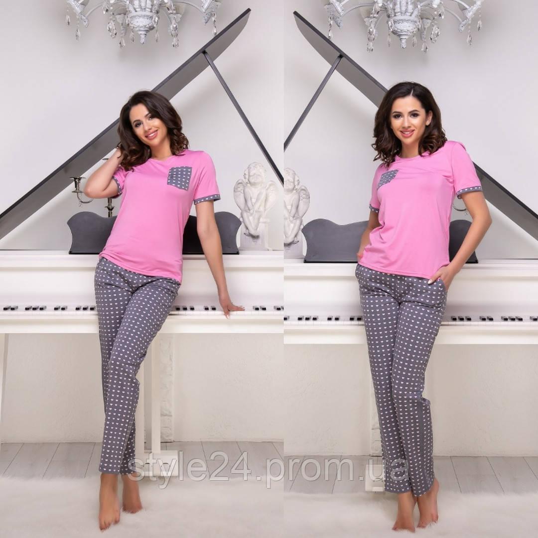 Жіноча  піжама:штани і футболка  .Р-ри 42-48