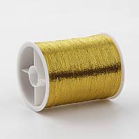 Металлизированная нитка 0,1мм 55м в катушке для вышивания для рукоделия цвет золото