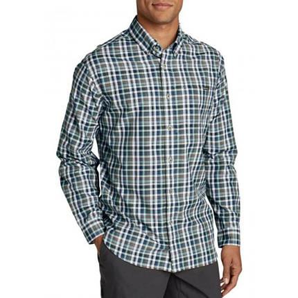 Мужская рубашка Eddie Bauer Mens Long-Sleeve Poplin Shirt Nordic BLUE PLAID (L), фото 2