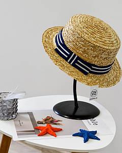 Стильная женская летняя соломенная шляпа канотье с лентой темно синего цвета