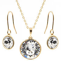 Набір Swarovski лимонна позолота - Круглі камінчики сережки+кулон (сережки+кулон+ланцюжок)