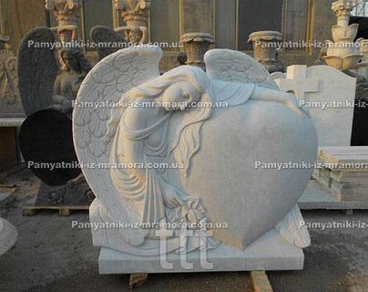 Памятник Ангел с сердцем из мрамора №44