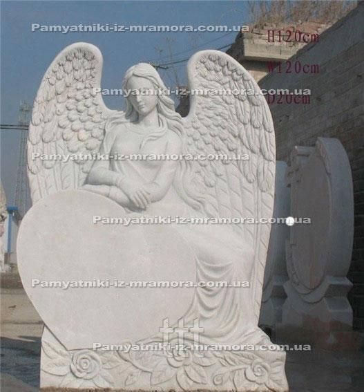 Памятник Ангел с сердцем из белого мрамора №57