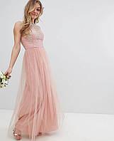 Длинное розовое женское кружевное платье премиум-класса для выпускного вечера