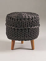 Пуф круглый на ножках HANDMADE DARK GREY темно-серый, фото 1