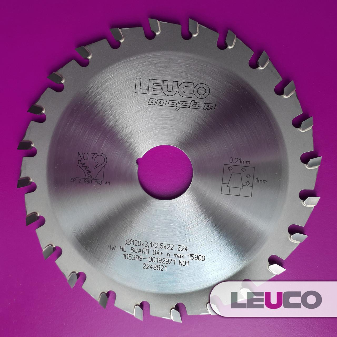 Однокорпусная подрезная дисковая пила Leuco - nn-System для форматно-раскроечных станков, 120x3,1-3,9x20, Z=24