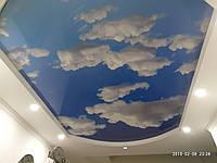 """Глянцевый натяжной потолок Марсель- принт """"Облака"""""""